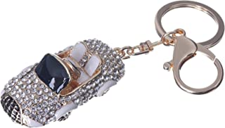 Girl's Crysatl Car Pendant Keychain Gold Plated Bag Charm Cute Car Key Ring #51621