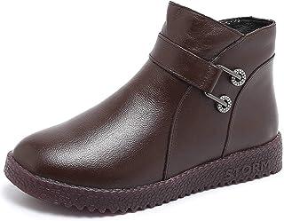 Genuine Leather Cotton Boots Boots Plus Velvet Non-slip Slope Heel Mom Cotton Shoes