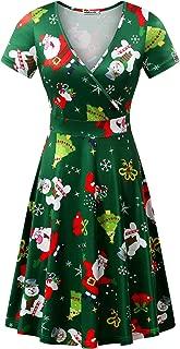 MSBASIC Christmas Dress Womens Short Sleeve Ugly Party Xmas Dress