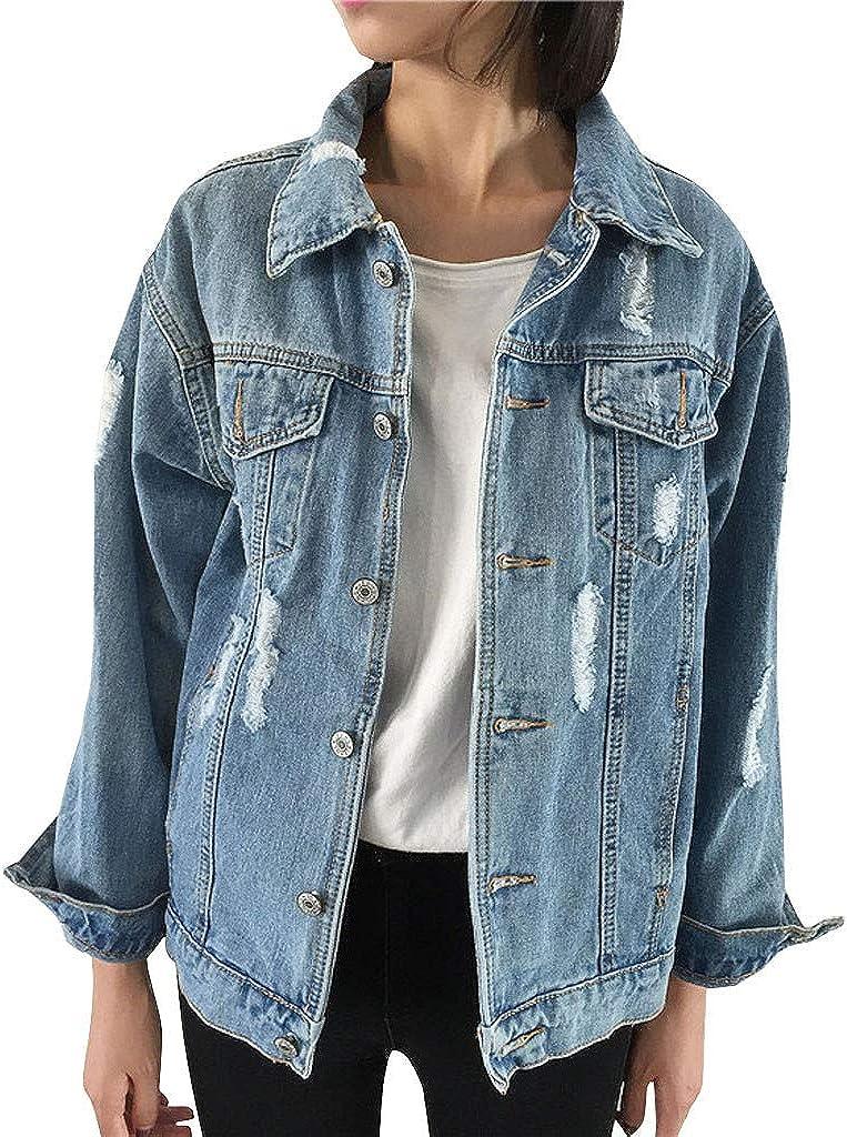 ManxiVoo Women's Boyfriend Style Retro Denim Jacket Casual Ripped Hole Punk Coat Outwear