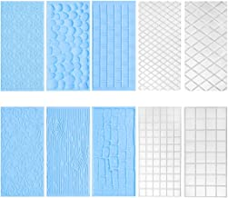10 Pack Set Fondant Impression Mat,Embossed Tree Bark/Brick Wall/Flower/Cobblestone/Stone Wall Texture Design Fondant Impr...