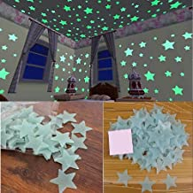 Stickonn Sparkle Blue Fluorescent Glow in The Dark Star Wall Sticker(Pack of 30, Size:3.8x3.8)