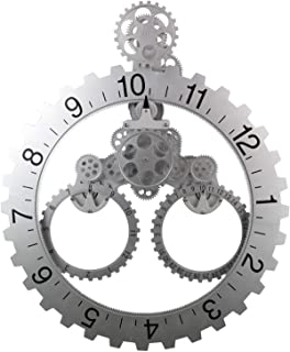 Gear Wall Clock, with 3D Moving Gears, 26 x 22 inches, Large Quartz Movement, Decorative with Premium Plastic Moving Clock for Office, Home, Kitchen, Bar, Living Room Decor (Silver Sawtooth Wheel)