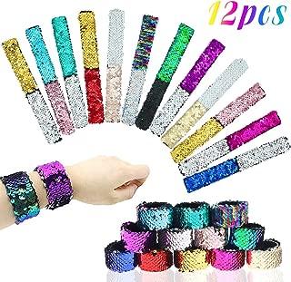 HEHALI 12pcs Mermaid Slap Bracelet 2 Colors Reversible Charm Bracelets Magic Sequins Flip Wristband Bracelets for Birthday Party Favors