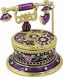Telephone Trinket Box Hand-Painted Crystal Decorative Hinged Jewelry Ring Holder Storage Box Collectible