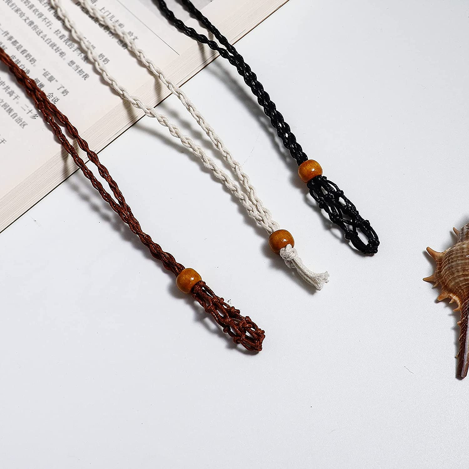 COLORFUL BLING Large Empty Quartz Raw Stone Necklace Cord Necklace Holder Hand Braided Rope Adjustable for Men Women DIY Making Accessories
