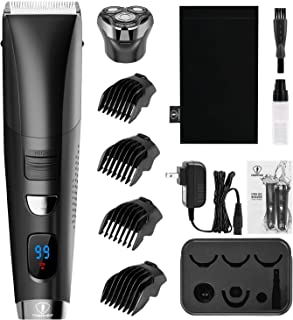 Ceenwes Hair Clippers Waterproof Cordless Clippers Hair Trimmer Mens Rechargeable Barber Shavers with Electric Razor Head 4 Guide Combs for Men Kids Babies (Black)