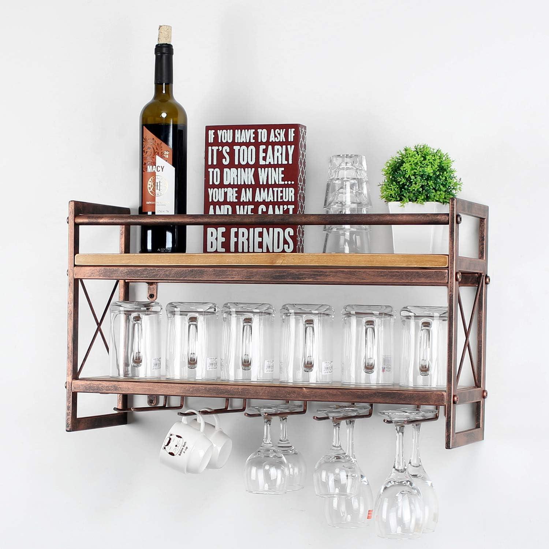 Popular standard MBQQ Wine Rack Max 51% OFF Stemware Glass 2-Tier Shelf Industrial Wood