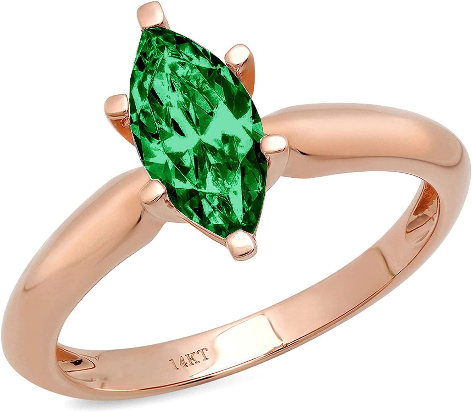 1.4ct Brilliant Marquise Cut Solitaire Flawless Simulated Cubic Zirconia Green Emerald Ideal VVS1 6-Prong Engagement Wedding Bridal Promise Anniversary Designer Ring Solid 14k Rose Gold for Women