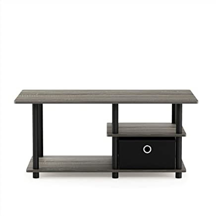 Furinno 15028GYW/BK/BK Turn-N-Tube Toolless Toollest TV Stand up to 45,  French Oak Grey Black