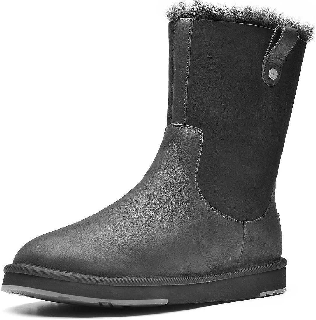 Aumu MensMid-Calf Waterproof Winter Snow Boots Winter Boots Black Size 8