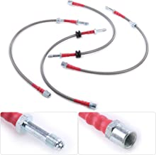 For BMW E46 3 Series 323 325 328 330 M3 Front Rear Stainless Steel Braided Oil Brake Line Cable Hose Red End Cap