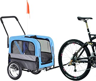 Aosom Elite-Jr 2-in-1 Dog Pet Bicycle Trailer/Stroller with Swivel Wheel - Blue/Black