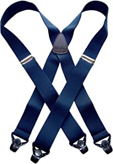 Holdup Suspenders in Navy Blue X-back Snow Ski Suspenders with Patented Gripper Clasps in 1 1/2