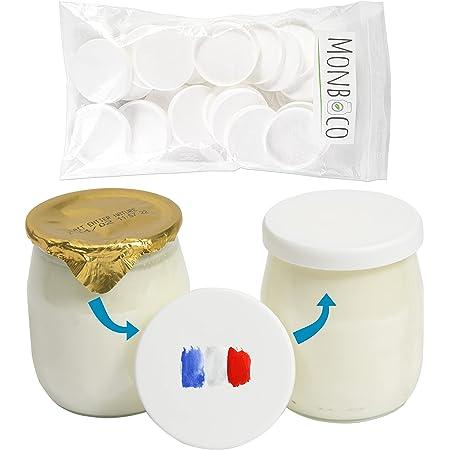 Monboco   Lot de 30 Couvercles universels pour Pots de Yaourt   diamètre 56 mm   Fabrication française   Compatible la laitière et divers pots en verre   Respect des Normes de Conservation Alimentaire