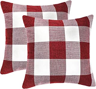 GirlyGirl Boutique Farmhouse Decorative Buffalo Check Plaid Pillow Covers Red and White Classic Linen Throw Pillow Covers for Couch, Bed, Sofa,Pack of 2(20 x 20 Inch)