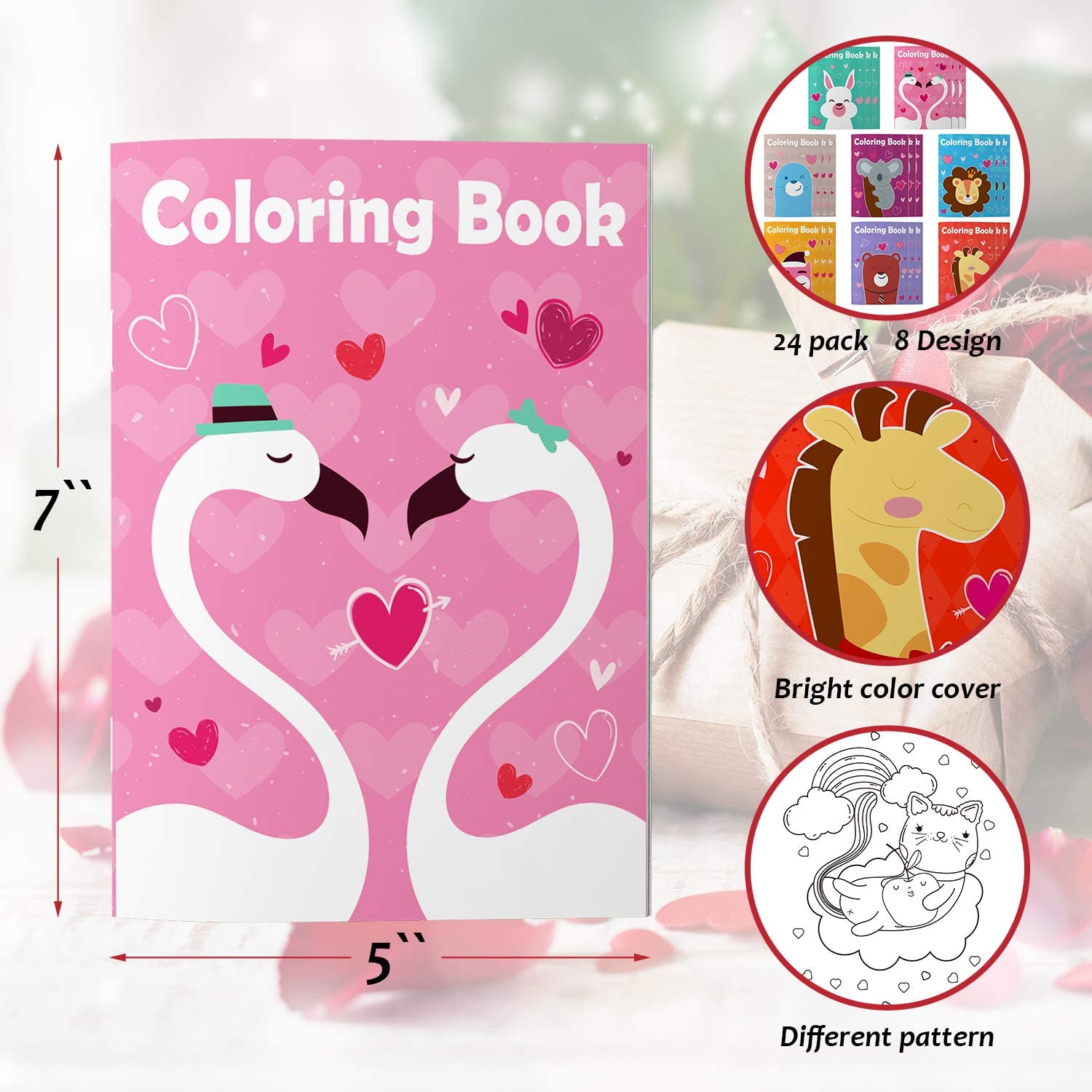 Cupid Animal in Love 24 Packs Valentines Day Coloring Books for Kid//Boy//Girl Coloring Books with Heart Unicorns Valentines Activity for Valentines Classroom Exchange Prizes//Gifts//Party Favor