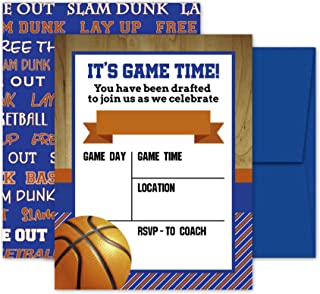 Deluxe Basketball Invitations, Birthday Party, Sports Game, Baby Shower Invites- 20 Large Double Sided 5 x 7 Inch Cards with Blue Envelopes Made in the USA