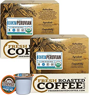 Fresh Roasted Coffee LLC, Swiss Water Decaf Organic Peruvian Coffee Pods, Medium Roast, Fair Trade, USDA Organic, Capsules Compatible with 1.0 & 2.0 Single-Serve Brewers, 36 Count