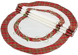 Xia Home Fashions Tartan Ribbon Embroidered Christmas Doilies, 8-Inch Round, White, Set of 4