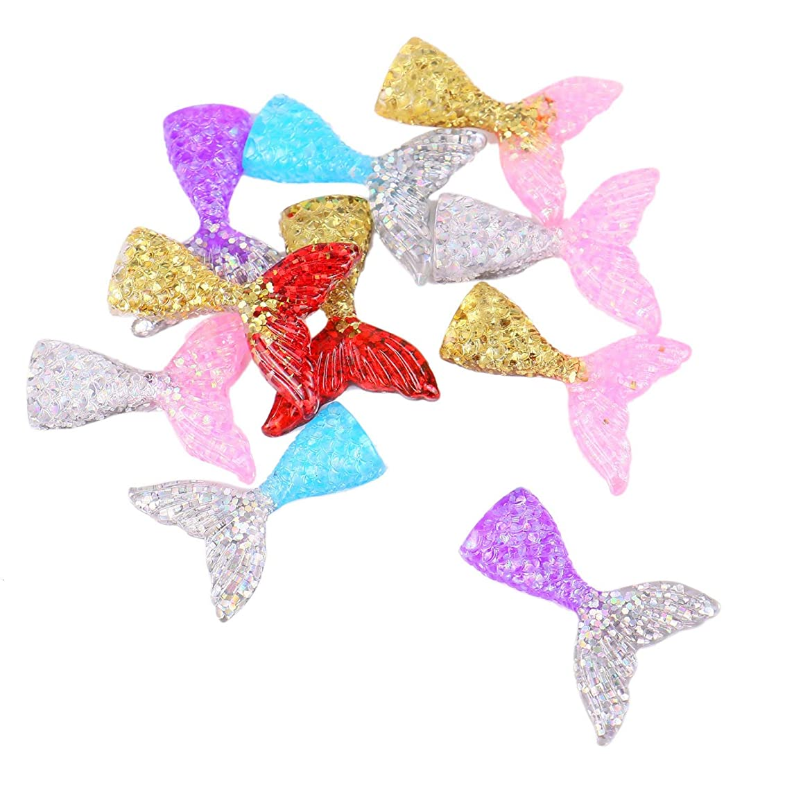 Monrocco 50Pcs Mixed Color Silme Charms,Resin Flatback Mermaid Tail Slime Charms for Ornament Scrapbook DIY Crafts