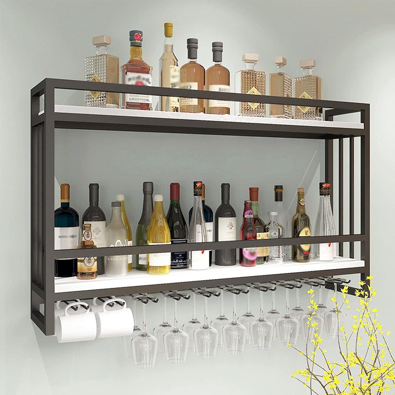 Estante Para Vino Montado En La Pared De Madera Maciza De Hierro, Botella De Vino Colgante Y Soporte Para Vidrio, Estante De Exhibición De Vino, Para De Barra De Cocina, Capacidad Para 20 Vasos,Negro