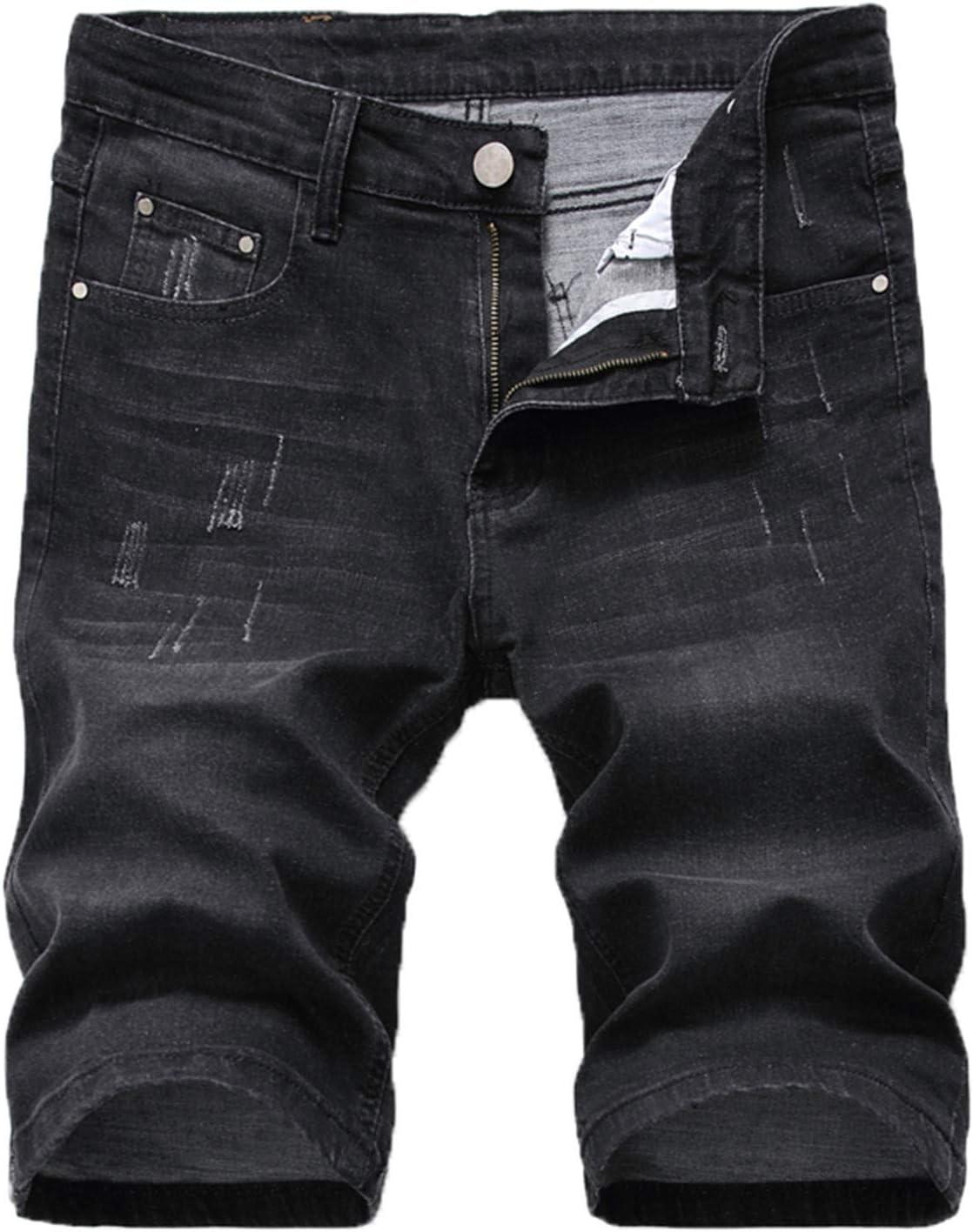 Yiqinyuan Summer Men's Ripped Short Biker Jeans Fashion Black Gray Denim Shorts Male Clothes 1006-Black 30
