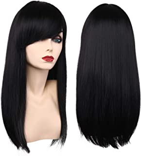Girls Wigs Kids Long Straight Black Costume Hair Wigs Women Halloween Cosplay Party Wig (2001 Black)