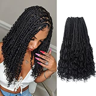Niseyo 14 Inch Boho Goddess Box Braids Crochet Hair With Curly End Bohemian Box Braids Synthetic Hair Extensions for Black...