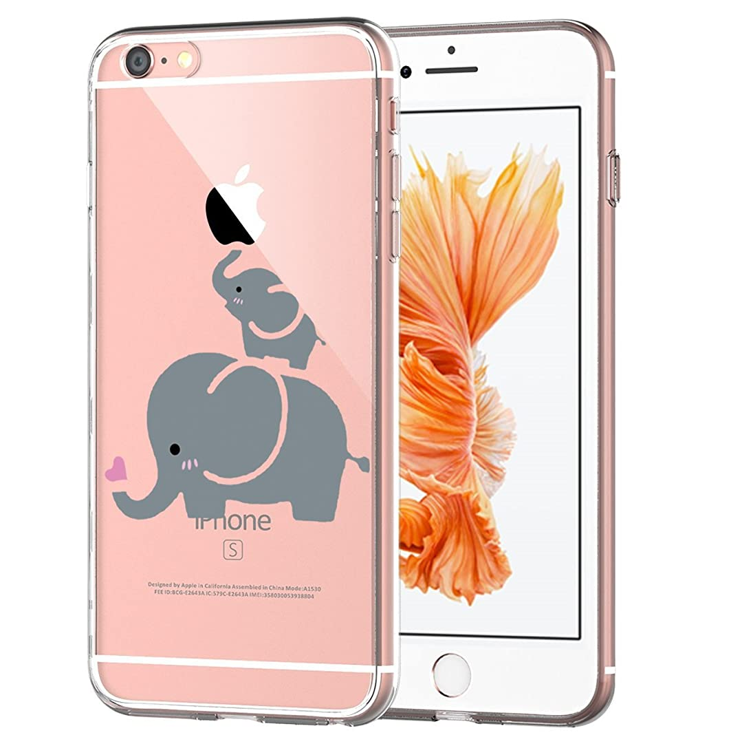 Matop Compatible for iPhone 6S iPhone 6 Case Flexible Soft Transparent TPU Back Cover Silicone Skin Scratch-Resistant Premium Anti-Slip Shockproof Cute Cover for iPhone 6/6S,4.7 inch (Elephant)