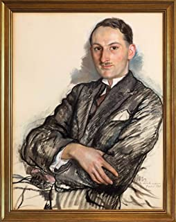 Berkin Arts Classic Framed Zinaida Serebriakova Giclee Canvas Print Paintings Poster Home Decor Reproduction(Portrait of Félicien Cacan) #JK