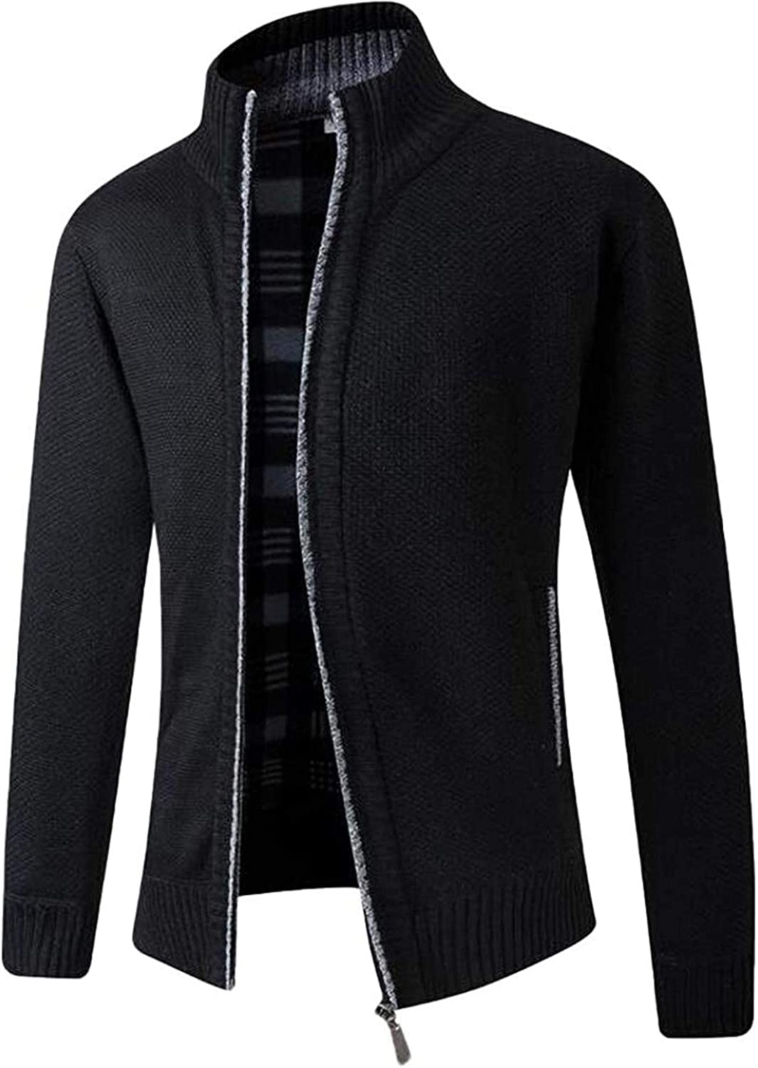 Mens Slim Zip Front Thick Open Front Cardigan Sweater with Pockets