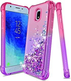 Compatible Samsung Galaxy J3 2018 Case,J3 Star Case,J3 Express Prime 3 Case,J3 Achieve/J3 V 3rd Gen/J3 Orbit/Amp Prime 3,Bling Glitter Liquid Protective Phone Cover for Girls Women,Pink/Purple