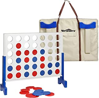 Giant Wooden 4 in A Row - Four Connect Board Game Set in White - Ideal Family Game for Kids & Adults - Outdoor Indoor Game for Backyard,Lawn,Parties,Bar Game .