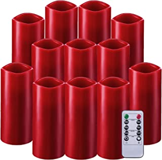 Enpornk Set of 12 Flameless Candles Battery Operated LED Pillar Real Wax Flickering Electric Candles with Remote Control Timer for Wedding Birthday Christmas Decorations (Burgundy)