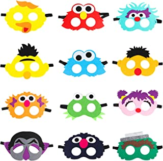 MALLMALL6 12Pcs Elmo Masks Cookie Monster Felt Mask Dress Up Costumes Birthday Party Favors Pretend Play Accessories Photo...