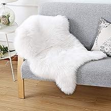 HEQUN Faux Fur Sheepskin Style Rug Faux Fleece Chair Cover