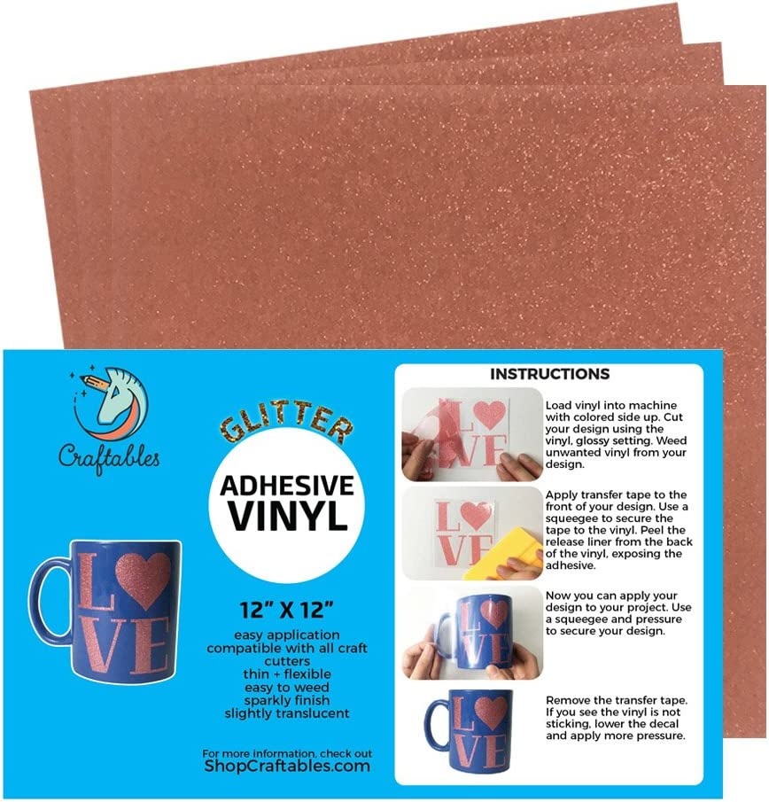 Craftables Rose Gold Glitter Adhesive for Vinyl San OFFicial site Antonio Mall Cricut Silhouet