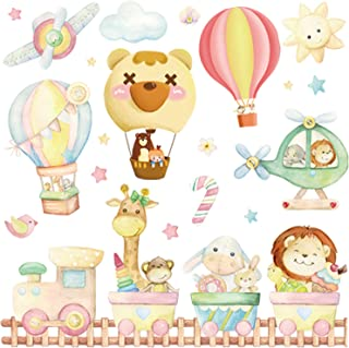Kids Wall Decals Extra Large Animal Train and Hot Air Balloons Wall Stickers for Kids Bedroom Nursery Living Room Playroom...
