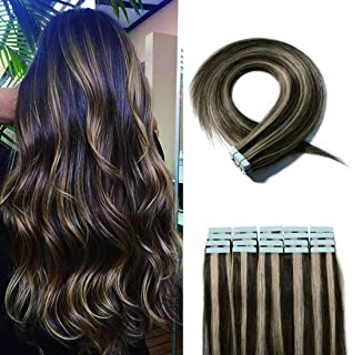 SEGO 20 Pieces Balayage Tape in Hair Extensions Human Hair Seamless Skin Weft Invisible Tape Hair Extensions Highlight Two Tone Straight Double Sided 22 Inches #4P27 Medium Brown&Dark Blonde 50g
