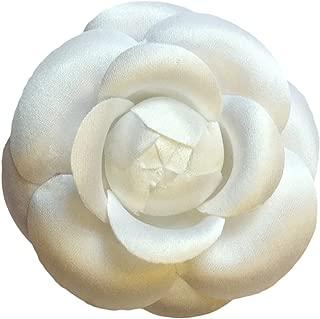 M&S Schmalberg White Silk Satin Camellia Brooch Pin