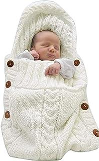 XMWEALTHY Newborn Baby Wrap Swaddle Blanket Knit Sleeping Bag Receiving Blankets Stroller Wrap for Baby(Beige) (0-6 Month)