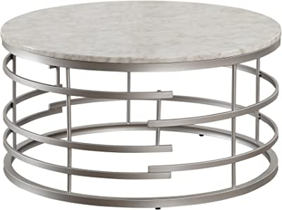 """Homelegance Brassica 34"""" Round Faux Marble Coffee Table, Silver"""