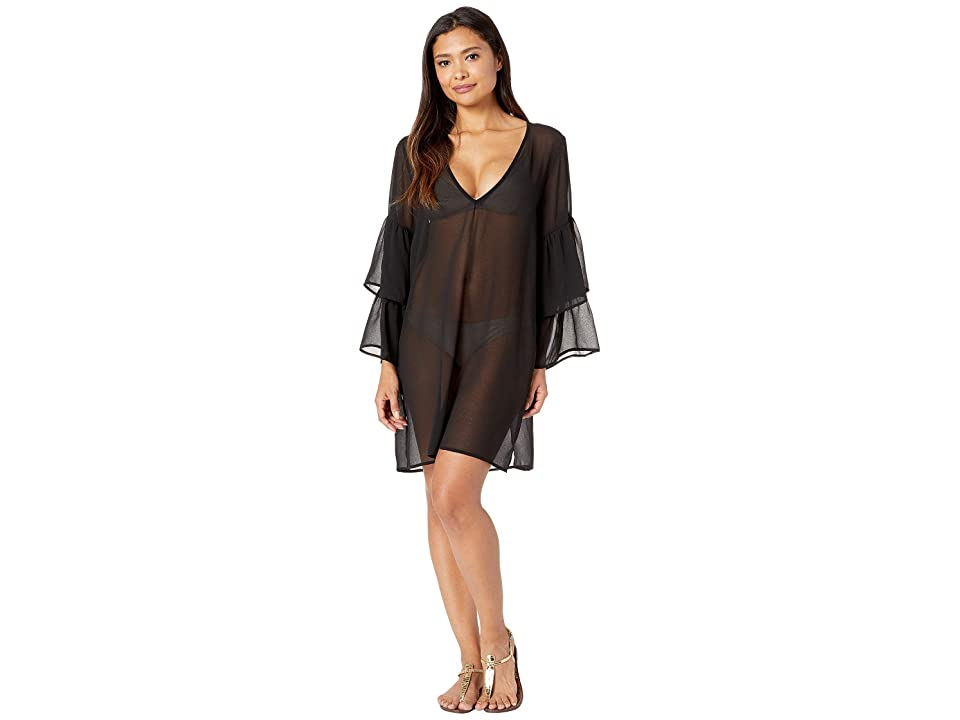 MICHAEL Michael Kors Urban Gypsy Ruffle Sleeve Cover-Up (Black) Women
