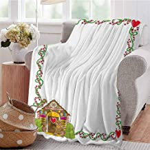 CRANELIN Throw Blanket Frame Featuring Sweet Candy Canes Hearts and a Gingerbread Cookie House Multicolor Livingroom Couch Bed Camping Picnic W60 xL80