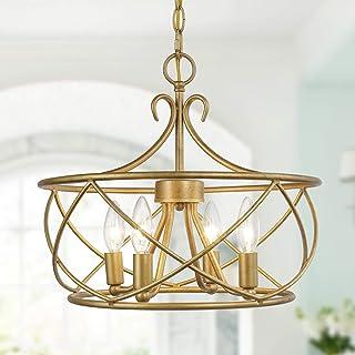 KSANA Antique Gold Chandelier Modern Drum Light Fixture for Dining & Living Room, Bedroom, Foyer and Kitchen