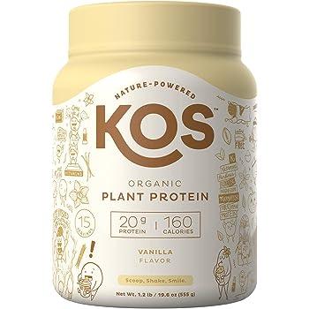 KOS Organic Plant Based Protein Powder – Raw Organic Vegan Protein Blend, 1.3 Pound, 15 Servings (Vanilla)