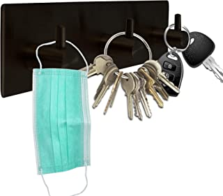 Self Adhesive Stainless Steel Heavy Duty 3 Key Hooks ~ Coat Hanger, Purse Hanger, Towel Hook ~ Easy Mount for Entryway, Ba...