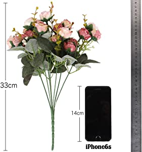 Luyue 7 Branch 21 Heads Artificial Silk Fake Flowers Leaf Rose Wedding Floral Decor Bouquet,Pack of 2 (Pink Coffee)