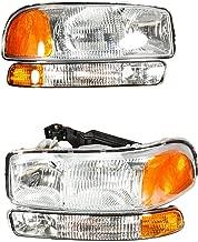 4pcs Headlight Assembly GM2502188 GM2503188 GM2520174 GM2521174 for 99-06 GMC Sierra1500/2500HD/3500 for 07 GMC Sierra Classic for 00-06 Yukon/Yukon XL 1500/2500